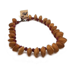 Necklace with Apricot stones and Pumice Stone