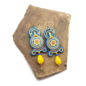 Soutache Earrings with Ceramic Lava Stone, Yellow Agate and Crystals - 10% DISCOUNT -