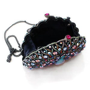 LO2370 Ruthenium White Metal Clutch with Top Grade Crystal in Multi Color