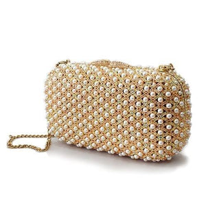 LO2377 Gold White Metal Clutch with Top Grade Crystal in Multi Color