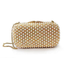 Load image into Gallery viewer, LO2377 Gold White Metal Clutch with Top Grade Crystal in Multi Color
