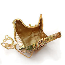 Load image into Gallery viewer, LO2378 Gold White Metal Clutch with Top Grade Crystal in Multi Color