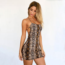 Load image into Gallery viewer, Summer Dress Sexy Cross Bandage Backless Snake Print Dress