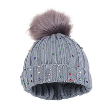 Load image into Gallery viewer, Rhinestone Keep Warm Winter Fur Ball High Quality Girls Boys Cap