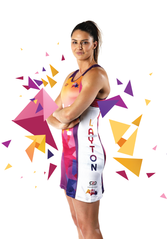 Sharni Layton showcasing Coast 2 Coast Sports custom design netball dress