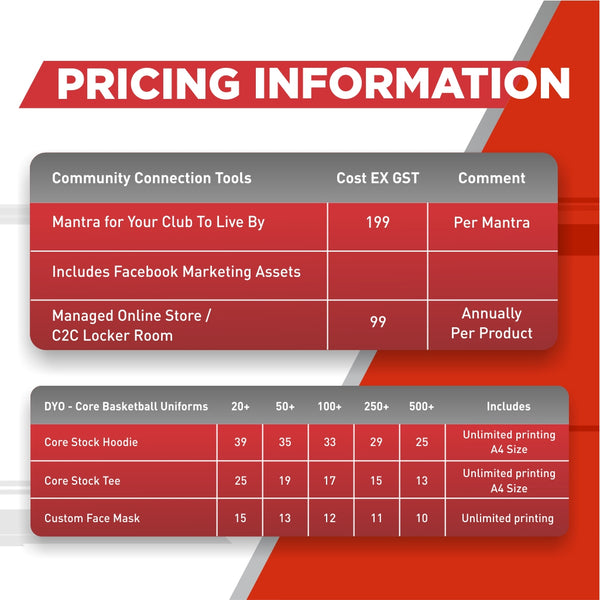 Coast 2 Coast Sports- Connect Your Tribe Pricing Information
