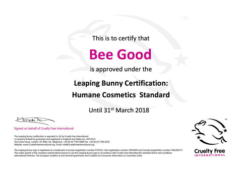 Bee Good is a Certified Cruelty Free company