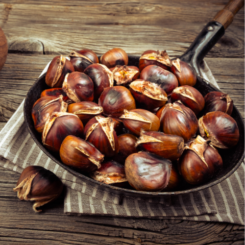 Chestnuts roasting in a pan