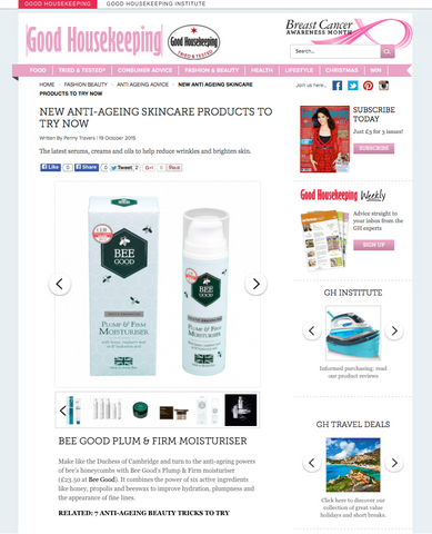 Bee Good's Youth Enhancing Moisturiser recommended by Good Housekeeping magazine