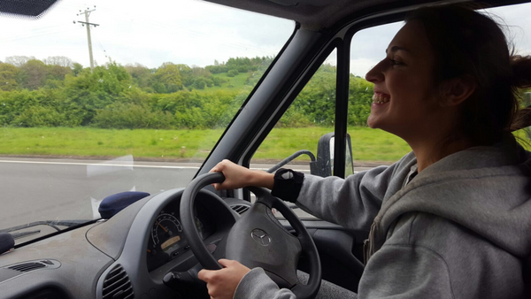 Lara in the van moving bees to the Heather in Wales