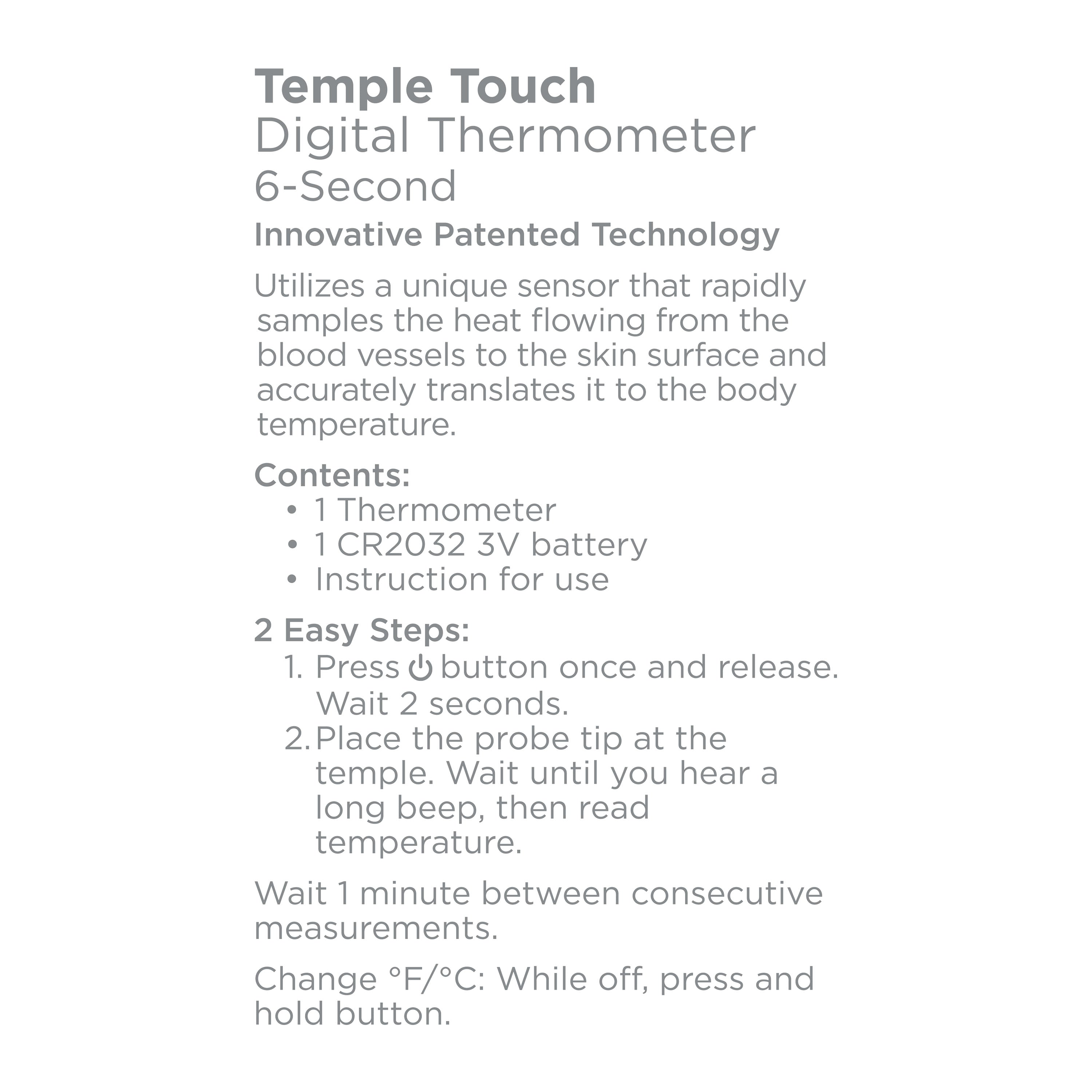Equate Temple Touch 6-Second Digital Thermometer