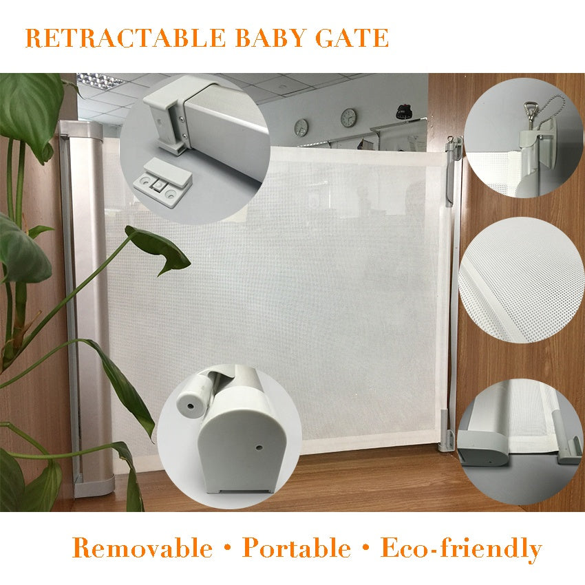 Retractable Baby Gate: Baby and Pet safe Solution by EZB - Gray
