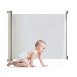 Retractable Baby Gate: Baby and Pet safe Solution by EZB -White