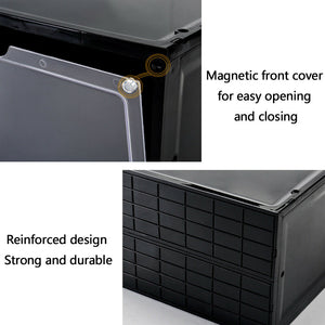 Magnetic Shoe Storage Box Drop Side/Front Sneaker Case Stackable Container XL - Obsidian Black