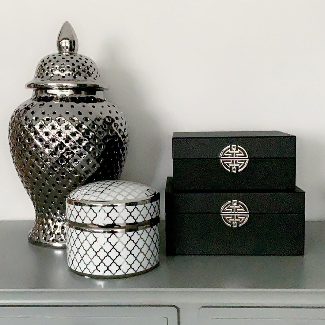 Set Of Black Faux Leather Jewellery Boxes