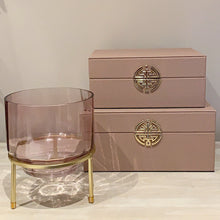 Load image into Gallery viewer, Set of Pink And Gold Faux Leather Jewellery Boxes