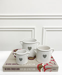 White Ceramic Heart Pot (Available in Three Sizes)