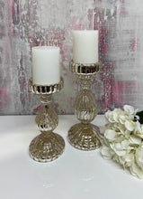 Load image into Gallery viewer, Silver Ritz Pillar Candlesticks (Available in Two Sizes)