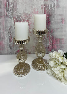 Silver Ritz Pillar Candlesticks (Available in Two Sizes)