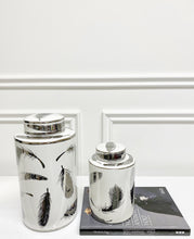 Load image into Gallery viewer, Penna Silver Feather Ceramic Jar (Available in Two Sizes)