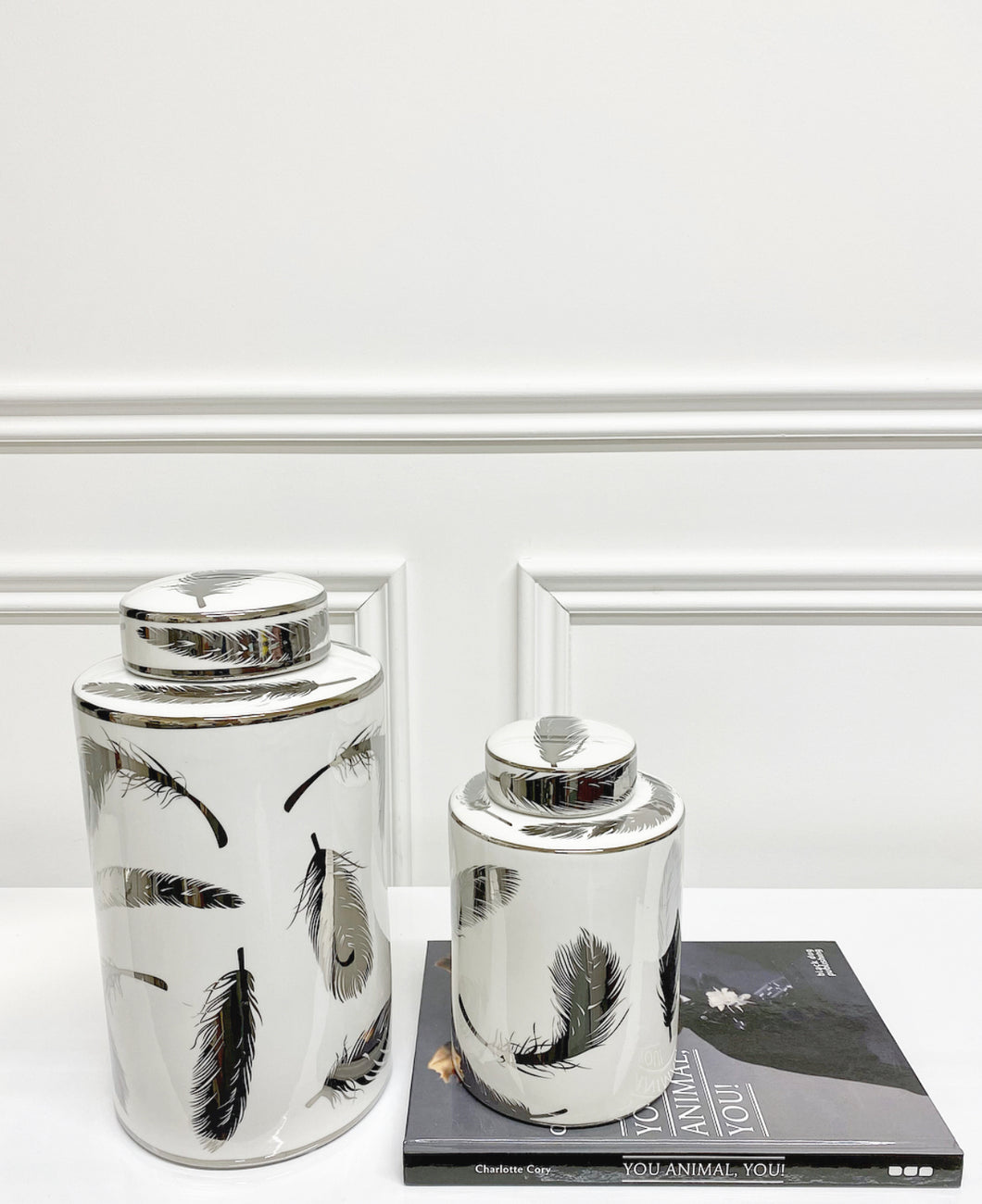Penna Silver Feather Ceramic Jar (Available in Two Sizes)