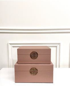 Set of Pink And Gold Faux Leather Jewellery Boxes
