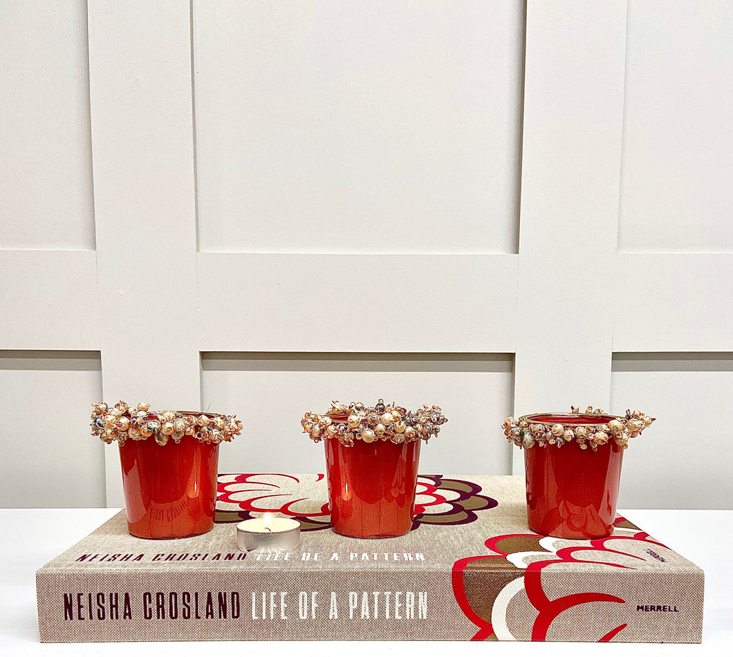 Set of 3 Coral Candle Holders