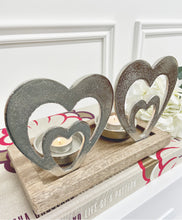 Load image into Gallery viewer, Silver Double Heart Tea Light Candle Holder