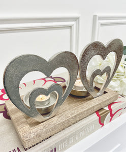 Silver Double Heart Tea Light Candle Holder