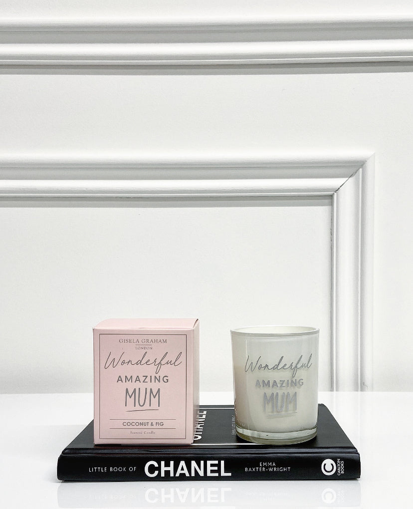 Gisela Graham Wonderful Amazing Mum Candle with box - Coconut & Fig Scent