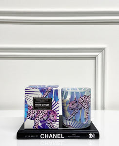 Gisela Graham Purple Leopard Candle with Box - White Ginger Scent