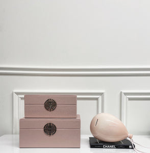 Set of Pink and Silver Faux Leather Jewellery Boxes