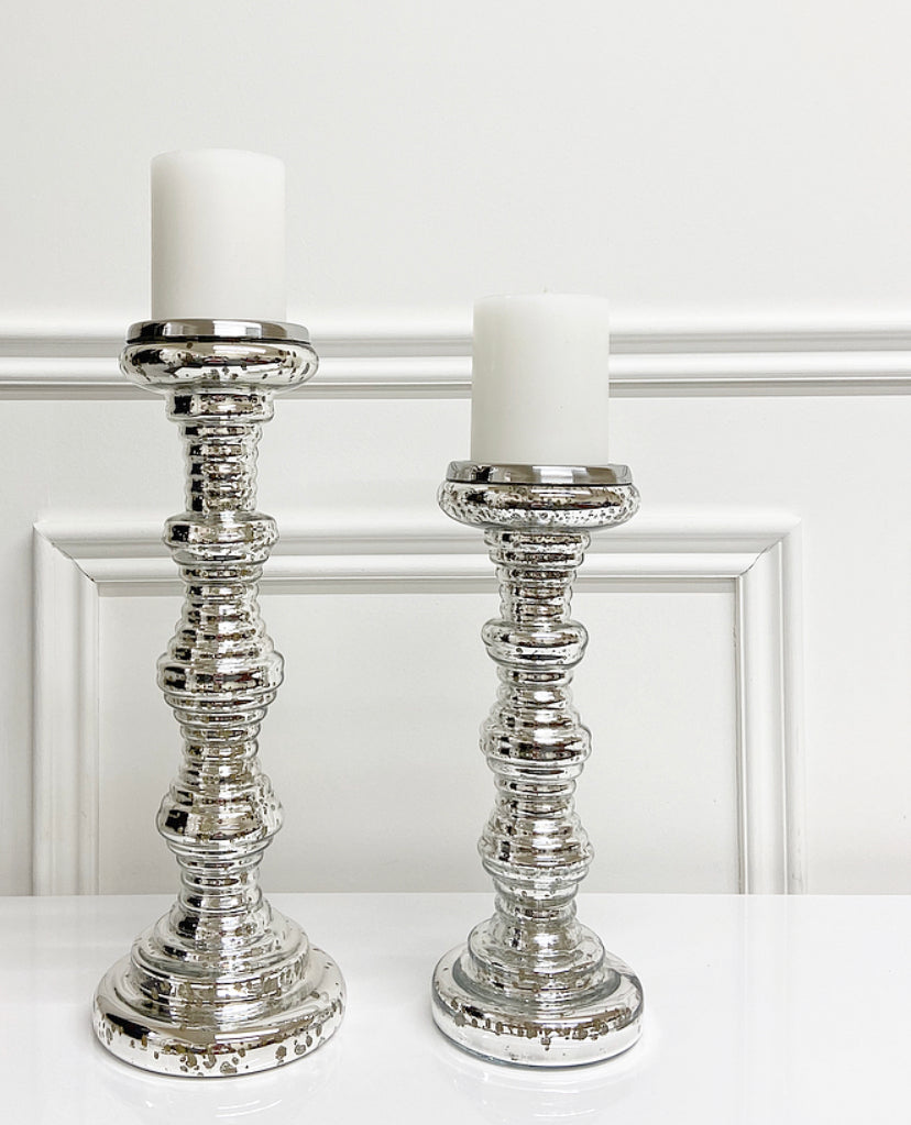 Silver Ribbed Candle Holder (Available in Two Sizes)