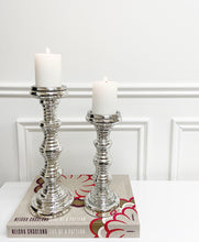 Load image into Gallery viewer, Silver Ribbed Candle Holder (Available in Two Sizes)