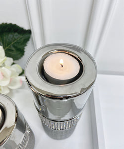 Set of Glitz Silver Tea Light Holders