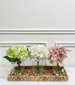Large Hydrangea in Glass Vase (Available in Three Colours)
