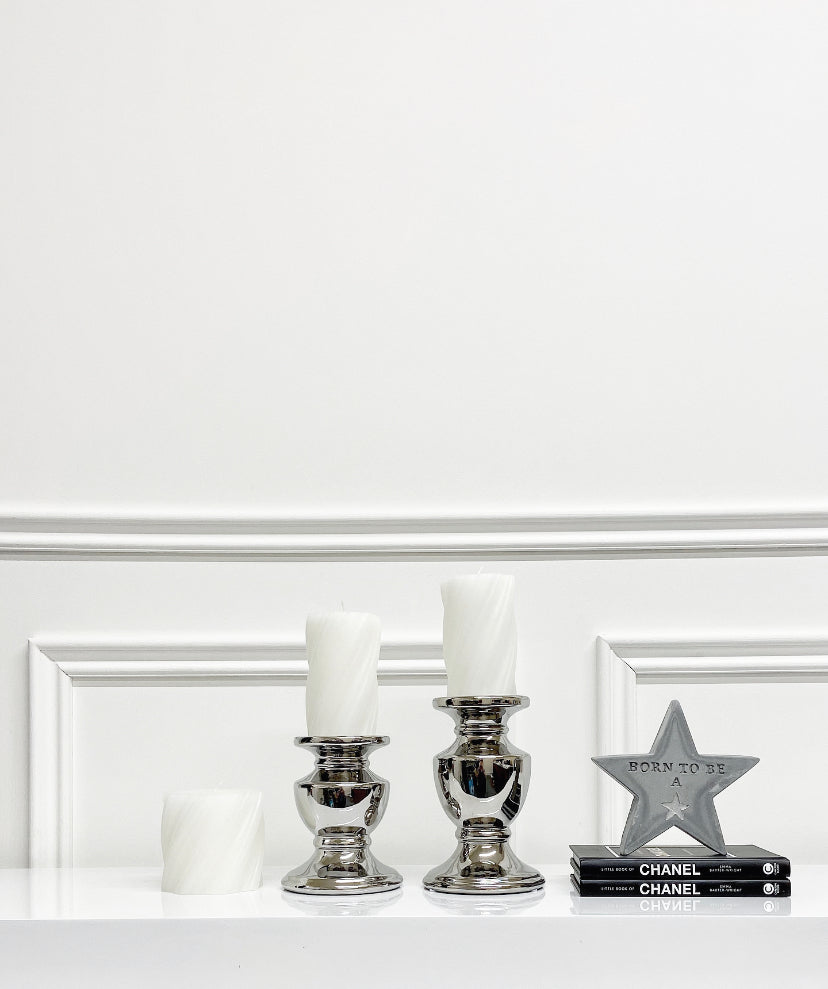 White Twist Candle (Available in Two Sizes)