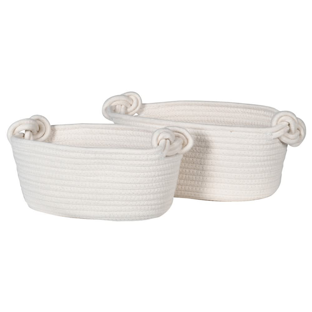 Set of 2 White Rope Baskets with Knot handles