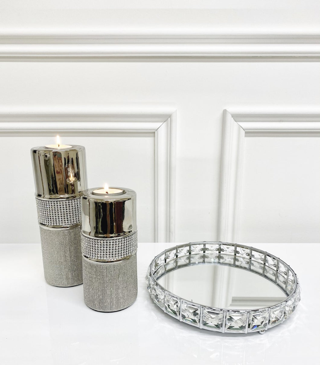 Sparkle Round Mirror Tray