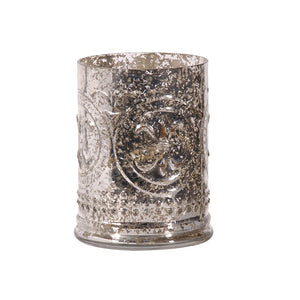 Antiqued Silver Glass Hurricane