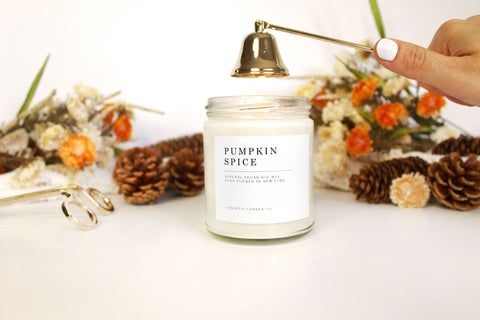 pumpkin spice candle, fall candle, minimal candle, white candle, cozy candle, warm candle, relaxing candle