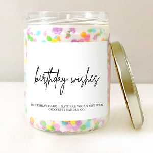 Confetti Cake Vegan Soy Candle | Birthday Cake Scented Natural Soy Wax Candle