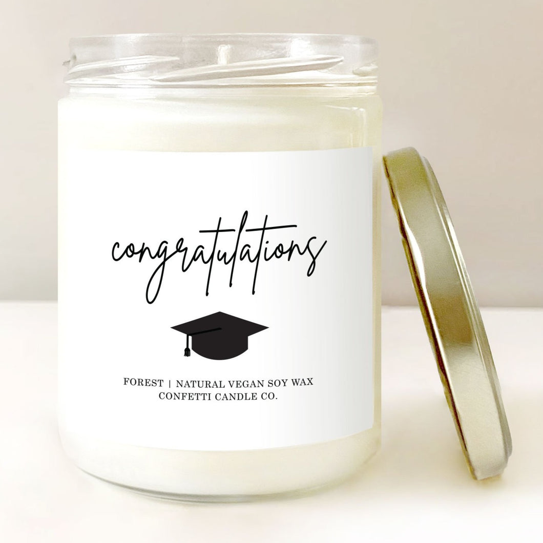 Graduation Gift Soy Candle | Forest-Scented Vegan Candle | Congratulations Candle | 2020 Graduate Gift Grad Cap Hat