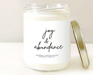 Joy & Abundance Candle | Natural Soy Wax | Bayberry Scented