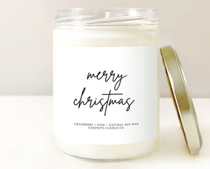 Merry Christmas Candle | Natural Soy Wax | Cranberry + Pine Scented