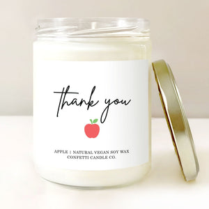 Teacher Candle Thank You Gift | Vegan Soy Wax Candle | Apple Scented Candle