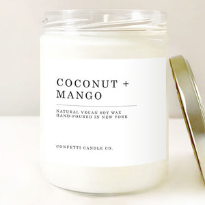 Coconut + Mango Candle, Natural Soy Wax
