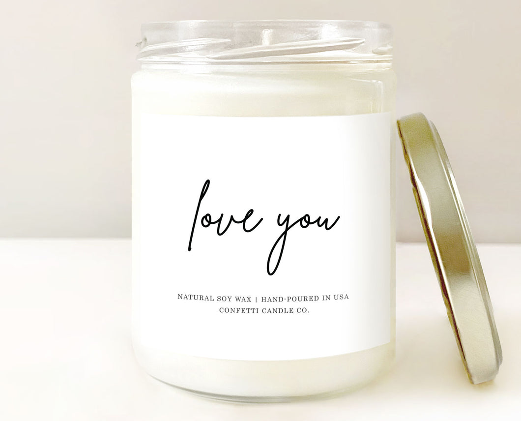 love you candle, natural soy wax, handmade, sugar cookie scented, gift, favor