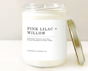 Pink Lilac Willow Candle Vegan Natural Soy Wax