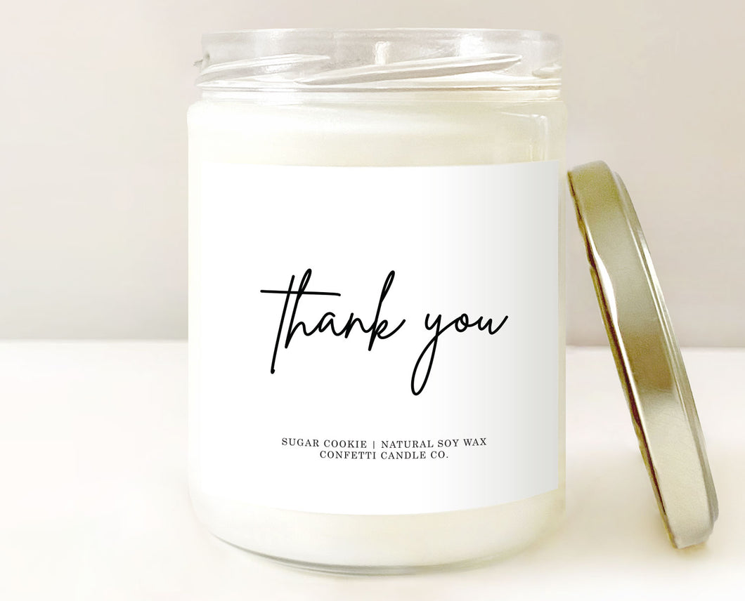 thank you gift, thankful gift, thank you candle